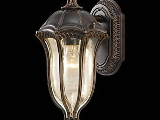Feiss OL6001WAL Baton Rouge Outdoor Lantern - Wall Mount in Walnut finish with Gold Luster Tinted Glass
