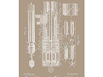 Inked and Screened SP_Milt_502,185_KR_17_W Machine Gun Print, 11 x 17, Kraft-White Ink