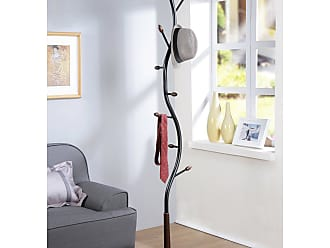 Round Hill Furniture Arles Metal Standing Coat Rack - 3456BK