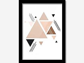 Los Quadros Quadro Decorativo Vários Triângulos Rosa 33cmx24cm Los Quadros Preto