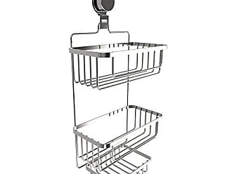 Trademark Global Lavish Home Hanging Storage Rack for Bathroom Space Saving with Stainless Steel Twist Lock Suction Cup Wall Mounted 3 Tier Shower Caddy