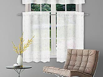 Duck River Textile Home Maison - Mistie Semi-Sheer Embroidered Floral Leaf Kitchen Tier & Valance Set | Small Window Curtain for Cafe, Bath, Laundry, Bedroom - (White & Gold)