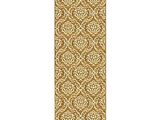 Home City Inc. Superior Fleur de Lis Collection Area Rug, Elegant Scrolling Damask Pattern, 10mm Pile Height with Jute Backing, Affordable Contemporary Rugs - Gold, 27 x 8 Runner