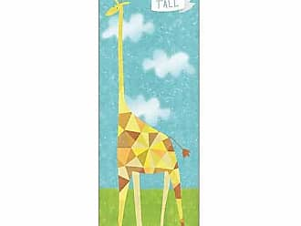 EAZL Stand Tall Giraffe Triangle Cloud Texture Trendy Modern Contemporary Juvenile Painting Blue & Green Canvas Art by Pied Piper Creative