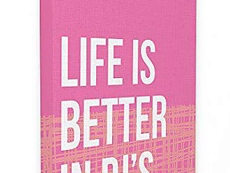 Stupell Industries Stupell Home Décor lulusimonSTUDIO Life Is Better In Pjs Pink and Orange Stretched Canvas Wall Art, 16 x 1.5 x 20, Proudly Made in USA