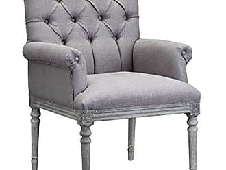 Boraam Burnham Home 11710 Keegan Arm Chair, White Washed Oak & Gray Linen