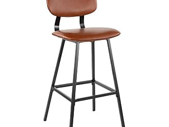 LumiSource Foundry 29 in. Upholstered Armless Bar Stool - Set of 2 Black / Espresso / Brown - B30-FNDY BK+E2