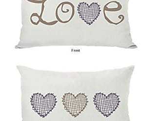 One Bella Casa Love Crosshatch Heart Ivory Throw Pillow Cover by OBC, 14x 20, Ivory/Tan/Purple