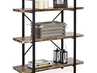 Best Choice Products 3-Shelf Industrial Open Bookshelf Furniture w/ Wood Shelves, Metal Frame