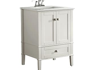 Simpli Home Chelsea 24 inch Bath Vanity in Off White with White Engineered Quartz Marble Top