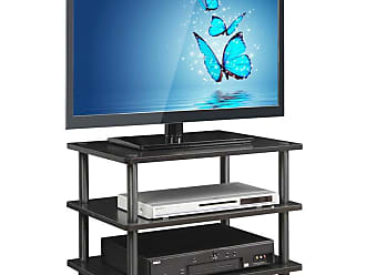 Furinno Turn-N-Tube Easy Assembly 3-Tier Corner TV Stand - 15094BW/BK