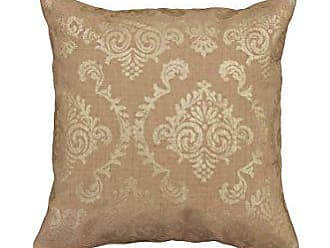 Heritage Lace Burlap Damask Pillow, 18 by 18-Inch, Gold