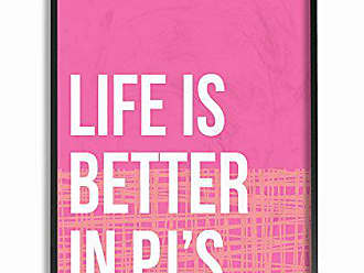 Stupell Industries Stupell Home Décor lulusimonSTUDIO Life Is Better In Pjs Pink and Orange Oversized Framed Giclee Texturized Art, 16 x 1.5 x 20, Proudly Made in USA