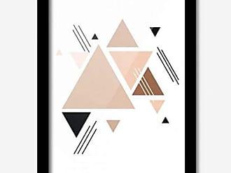 Los Quadros Quadro Decorativo Triângulos Rosa 45cmx33cm Los Quadros Preto