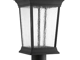PROGRESS Arrive Black 1-Lt. Post Lantern (9) w/AC LED Module Clear Seeded glass panels