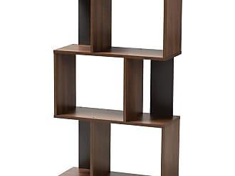 Baxton Studio Legende Modern and Contemporary Cube Display Bookcase - Brown and Dark Grey - SEDV5004-COLUMBIA BROWN/DARK GREY-SHELF