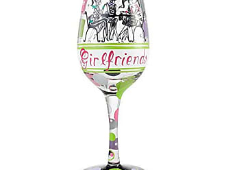 Enesco 6004358 Designs by Lolita Girlfriends Together Artisan Wine Glass 15 oz. Multicolor