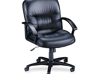 Lorell Mid-Back Managerial Chair Black Leather Finish 26-1//2 by 28-1//2 by 43-Inch
