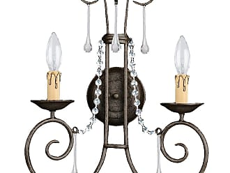 Crystorama 5202-DR-CL-SAQ SOHO Natural Wrought Iron Wall Sconce Accented with Swarovski Spectra Crystal