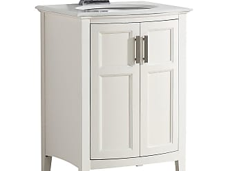 Simpli Home Winston 24 inch Rounded Front Bath Vanity in Off White with Bombay White Engineered Quartz Marble Top