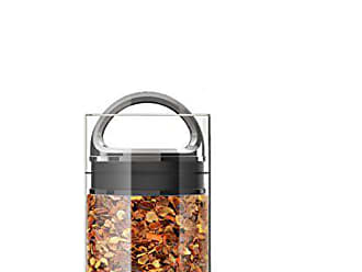 Prepara Best PREMIUM Airtight Storage Container for Coffee Beans, Tea and Dry Goods - EVAK - Innovation that Works by Prepara, Glass and Stainless, Dark Chrome Handle, Mini