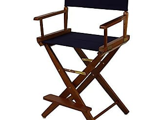 Yu Shan American Trails Extra-Wide Premium 24 Directors Chair Mission Oak Frame with Navy Canvas, Counter Height