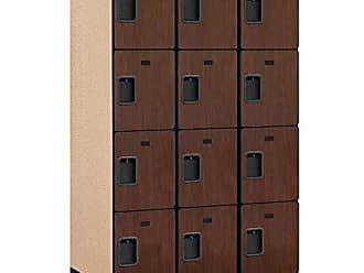 Salsbury Industries 4-Tier Extra Designer Wood Locker with Three Wide Storage Units, 6-Feet High by 24-Inch Deep, Mahogany
