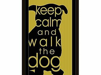 EAZL Keep Calm Dog Cat Silhouette Inspirational Pet Typography Black & Green, Framed Canvas Art by Pied Piper Creative