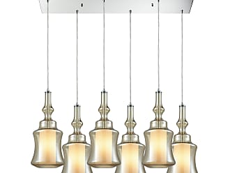 Elk Lighting Alora 6 Light Rectangle Pendant In Polished Chrome With Opal White Glass Inside Champagne Plated Glass