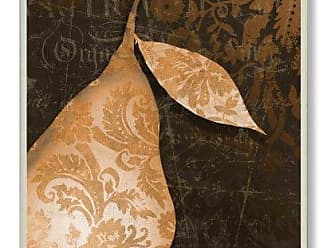 The Stupell Home Décor Collection The Stupell Home Decor Collection Damask Offset Gold Pear Kitchen Wall Plaque
