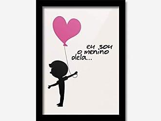 Los Quadros Quadro Decorativo Eu Sou o Menino Dela Coração Rosa 45cmx33cm Los Quadros Preto
