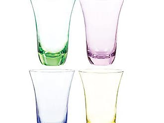 Qualia Glass Aurora High Ball Glasses, 17-Ounce, Emerald/Pink/Amber/Blue, Set of 4