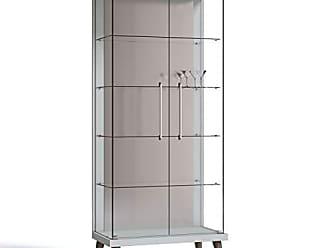 Imcal Cristaleira com Espelho, LED e 2 Portas em Vidro Tiffany Retrô Imcal Branco