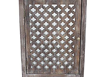 Decor Therapy Décor Therapy Quatrefoil End Table with Mirror Accent, Distressed Gray