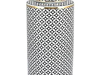 Home&Co Potiche Com Tampa Xian em Cerâmica 35cm Preto e Branco - Home&co