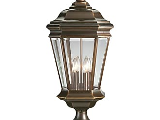 PROGRESS P5474-108 Four-light post lantern in Oil Rubbed Bronze finish with clear beveled glass