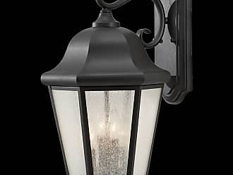Feiss OL5904BK Martinsville Wall Lanterns in Black finish with Clear Seeded Glass