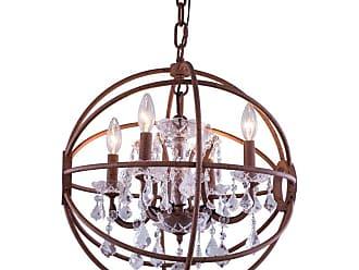 Elegant Furniture & Lighting Elegant Lighting Geneva 1130 Pendent Light Silver Shade Crystals, Size: 20 in. - 1130D20DB-SS/RC