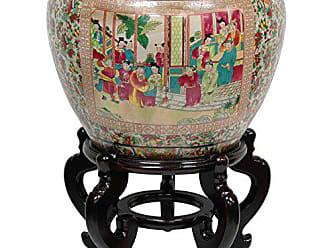 Oriental Furniture 18 Rose Medallion Porcelain Fishbowl