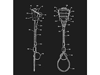 Inked and Screened SP_OUTG_4,643,378_BL_24_W Outdoor Gear Roller Chock Climbing Device K. Guthrie 1987 Print, Black Licorice-White Ink, 18 x 24