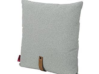 Christopher Knight Home 305383 Dunn Mid Century 20 Square Fabric Pillow with Faux Leather Strap, Gray and Autumn Tan, Grey