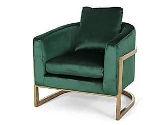 Christopher Knight Home 308909 Chloe Modern Velvet Glam Armchair with Stainless Steel Frame - Emerald and Gold Finish, Gray, Rose