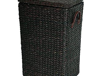 Oriental Furniture Rush Grass Laundry Basket - Black