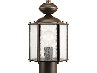 PROGRESS Roman Coach Antique Bronze 1-Lt. Post Lantern Clear seeded glass panels