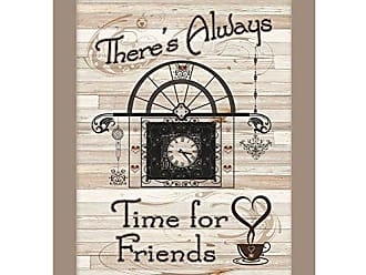 Trendy Decor 4 U Trendy Decor4U ME29A-779SG Time for Friends by Millwork Engineering Ready to Hang Print with Taupe Frame, Earthtone
