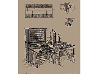Inked and Screened SP_Vint_526,130_KR_17_K Machine for Tabulating-H. Hollerith-1894 Silk Screen Print, 11 x 17 Kraft - Black Ink