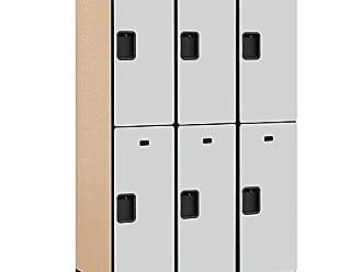 Salsbury Industries 2-Tier Extra Wide Designer Wood Locker with Three Wide Storage Units, 6-Feet High by 21-Inch Deep, Gray