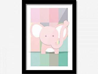 Los Quadros Quadro Decorativo Elefantinho Rosa Baby 45cmx33cm Los Quadros Preto