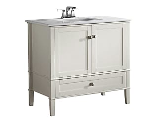 Simpli Home Chelsea 36 inch Bath Vanity in Off White with White Engineered Quartz Marble Top
