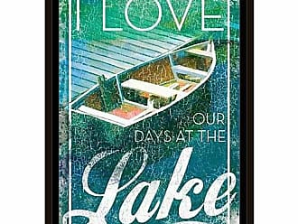EAZL Lake Love Dock Boat Lake Lodge Water Distressed Texture Inspirational Painting Blue & Green, Framed Canvas Art by Pied Piper Creative